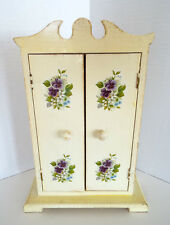 VICTORIAN STYLE JEWELRY ARMOIRE Box Organizer 11 x 8 Purple Floral Decals