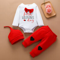Toddler Infant Baby Boys Valentine's Day Heart Print Romper Plaid Pants Outfits