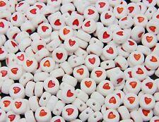 50 Pcs -  7mm White Flat Red Heart Print Letter Style Spacer Beads  V114