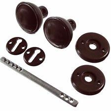 2x Brown Mortice Door Knob Set Plastic Outdoor Garden Shed Gate Garage Lock Kit