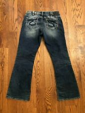 Suki Mid Boot Cut Intricate Stitch Distressed Silver Jeans Size 32 x 31