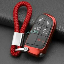 Car Key Fob Cover Chain Ring Case For Jeep Grand Cherokee Renegade Compass Red