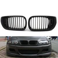 1Pair Car Front Kidney Grille Matte Black For 02-05 BMW 3Series E46 4D 320i 325i