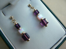 Art Deco style 14ct gold fill earrings with Opal & purple Amethyst crystal cubes