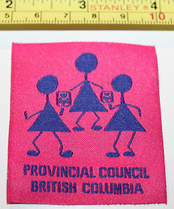 Girl Guides Canada Provincial Council British Columbia Fabric Label Patch