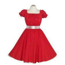 Rockabilly 50er   Kleid Petticoat Pin Up Party Baumwolle S/M 102-Rot