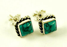 **BEAUTIFUL STERLING SILVER SQUARE CABOCHON TURQUOISE STUD EARRINGS**