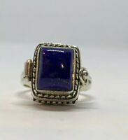 925 Sterling Silver Natural Lapis Lazuli Bali Poison Pill Ring Size 8 Indonesia
