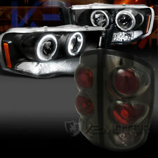 02-05 Dodge Ram Black Halo LED Projector Headlights+Smoke Tail Lights Head