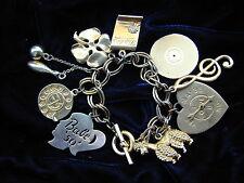 Vintage 1988 FM Statement Charm Bracelet Gold Tone Retro 50's Style Charms