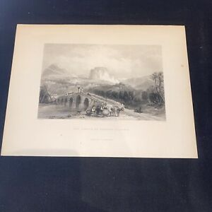 1841 Castle Cassano Calabria Mediterranean Temple Original Antique Print