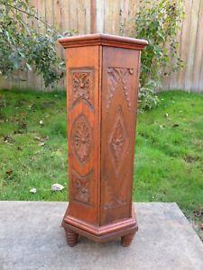 Antique CARVED OAK FERN PLANT STAND W/ STORAGE Arts & Crafts VICTORIAN PEDESTAL