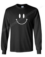 Long Sleeve Men's Smiley Face T Shirt Smile Happy Funny T-shirt Tee Fun Humor