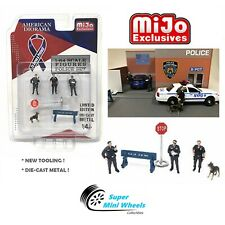 1:64 Figures Police 6 pc Set Die Cast Metal - American Diorama Mijo Exclusive