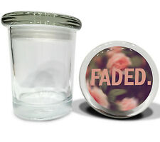 """FADED Floral Garden Big Glass Jar w/ lid Air Tight Seal Container 4.5""""Tall Large"""