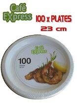 Bulk 100 x Cafe Express Plastic Disposable Dinner Plates 23cm White Catering New