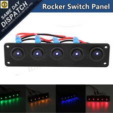 12V/24V 5 Gang On/Off  LED Rocker Switch Panel Car Marine Boat Circuit Breaker