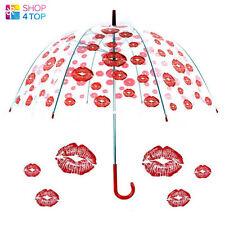RED LIPS KISS CLEAR TRANSPARENT DOME RAIN WOMEN UMBRELLA PARASOL WEDDING NEW