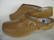 HOLZ (e) CLOGS Holz Pantolette Gr.35,5 BEIGE, Leder, (Made in Poland 20-6-5-62)