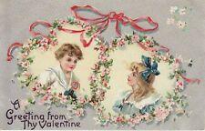 Antique VALENTINE POSTCARD c1910s Girl Boy Heart Wreaths Silver Embossed