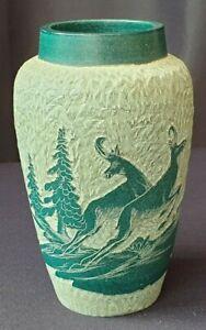 Green Ceramic Vase with Deer Motif Unknown Origin Unmarked 12.5 cm Height