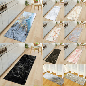 Art Marble Flannel Kitchen Yoga Bath Mat Non-Slip Modern Long Runner Rug Doormat