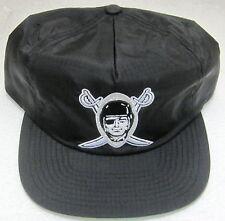 NFL Oakland Raiders Black Flat Bill Zip Strap Back Hat By Mitchell & Ness