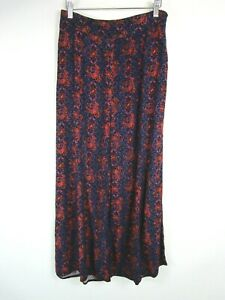 Elevenses Anthropologie Purple Patterned Wide Leg Trousers UK Size 10