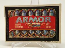 1973 Topps Wacky Packages ARMOR HOT DOGS 4th Series Sticker Tan back Card