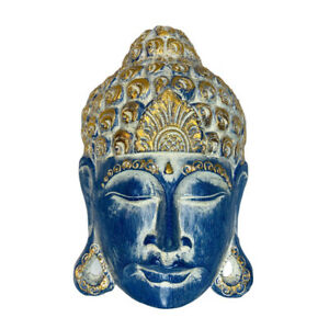 My Family House Wood Buddha Mask Ornament in Blue - Hand Carved