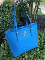 NWT Michael Kors Jet Set Travel Tote Saffiano Leather Summer Blue