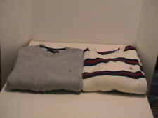 LOT /2 MENS TOMMY HILFIGER WINTER GRAY & WHITE SWEATERS BOTH SIZE XL X-LARGE
