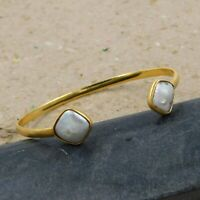 Solid 925 Sterling Silver Jewelry Pearl Gemstone Gold Plated Cuff Gift Bracelet