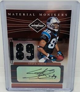 """2006 Leaf Limited Steve Smith Sr """"Material Monikers"""" Patch Auto /89 CAR Panthers"""
