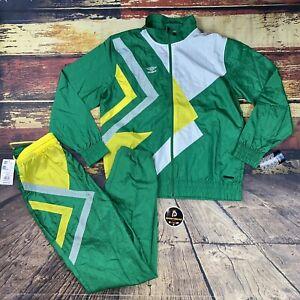 New $150 Mens Sz L UMBRO Soccer Nylon 2 Piece Track Suit Jacket & Pants Green