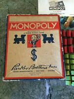Vintage 1936 Monopoly Game Wood Pieces Original Box No Board