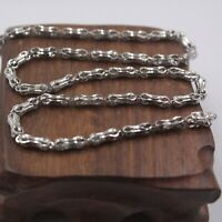 Fine Real S925 Sterling Silver Chain Women Men Hollow Bead Link Necklace