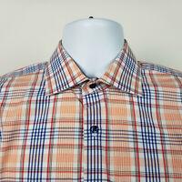 Nordstrom Non Iron Trim Fit Mens Orange Blue Plaid Check Dress Shirt 15.5 - 35