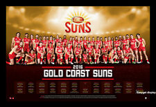 2016 GOLD COAST SUNS FOOTBALL CLUB TEAM AFL 2016 SEASON CALENDAR POSTER FRAMED