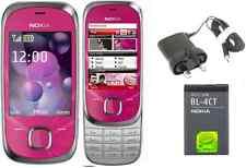 NUOVA condizione Nokia 7230 Sbloccato Slide 3G Cellulare 3.2 Mp Bluetooth rosa caldo