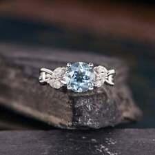 Brand New White Gold 14k Aquamarine Engagement Ring Marquise Leaf Vine Floral
