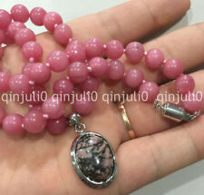 Natural 8mm Pink Rhodochrosite Round Gemstone Jewelry Necklace & Pendant 18""