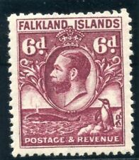 "Falkland Islands 1936 ""Whale & Penguin"" 6d reddish purple MLH. SG 121a."