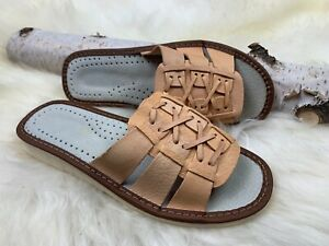 Women's Leather Slippers Real Leather Light Comfy Slippers Size US 6-6.5 EU 37