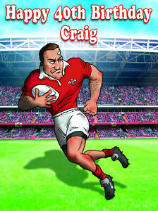 PERSONALISED WELSH RUGBY PLAYER -Humourous- GREETING CARD ANY RELATION - NX3