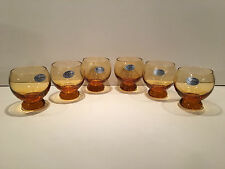 Six (6) Vintage Colony Amber Glasses Hand Made in Italy