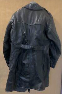 VINTAGE WW2 Black Leather Long Trench Coat Jacket Size XL