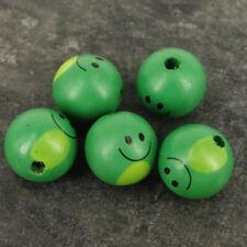 Pack 10 en Bois Vert Animal Visage Tête de poupée Perles, 28 mm ne sont pas confronté à des trous WH5