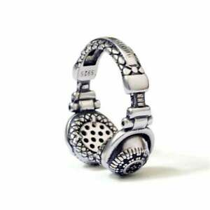Awesome Headset Design With Black Onyx In 925 Sterling Silver Unisex Fine Band