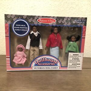 Melissa & Doug Victorian Dollhouse Family African American 4 Dolls Poseable